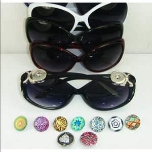 Sunglasses with interchangeable snap charm